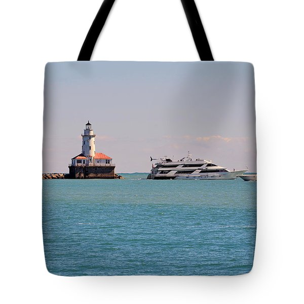 Historical Chicago Harbor Light Tote Bag by Christine Till