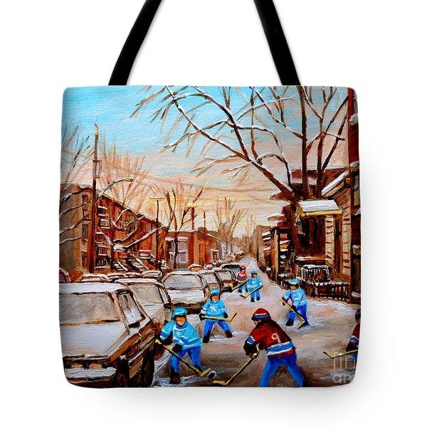 Hockey Art- Verdun Street Scene - Paintings Of Montreal Tote Bag by Carole Spandau
