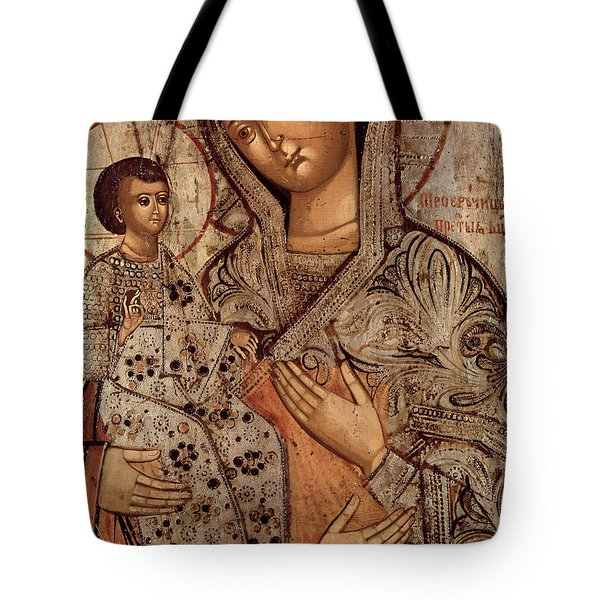 Icon Of The Blessed Virgin With Three Hands Tote Bag by Novgorod School