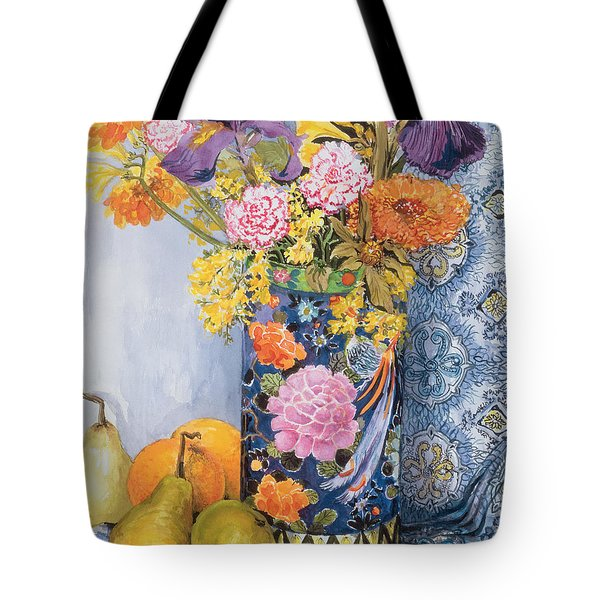 Iris And Pinks In A Japanese Vase With Pears Tote Bag by Joan Thewsey
