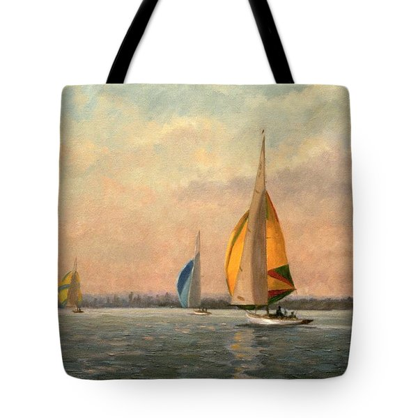 Late Finish Tote Bag by Vic Trevett