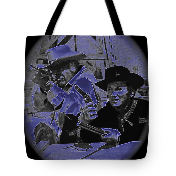 Leif Erickson and Cameron Mitchell  The High Chaparral Old Tucson Arizona 1969 Tote Bag by David Lee Guss