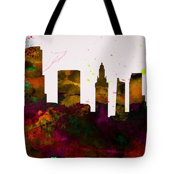 Miami City Skyline Tote Bag by Naxart Studio