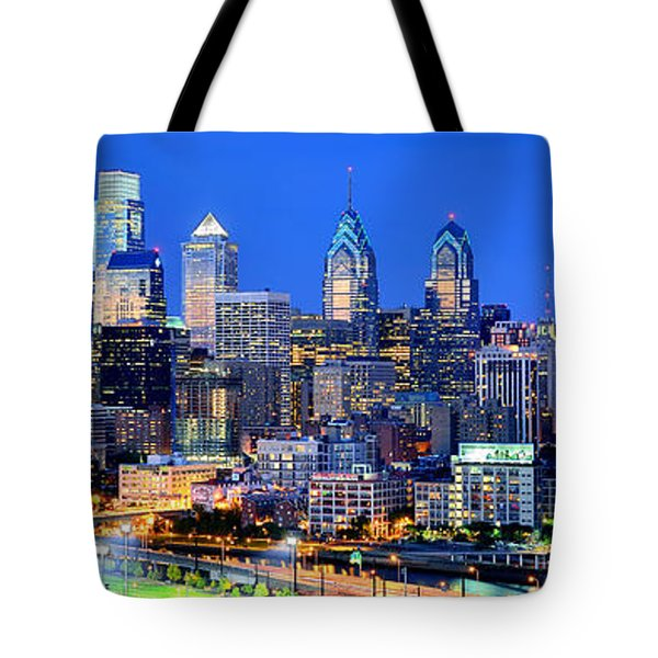 Philadelphia Skyline At Night Evening Panorama Tote Bag by Jon Holiday