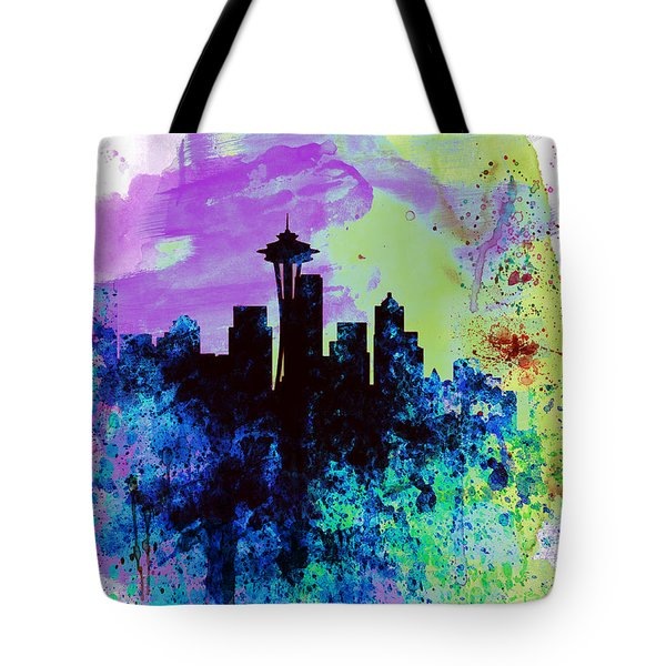 Seattle Watercolor Skyline 1 Tote Bag by Naxart Studio