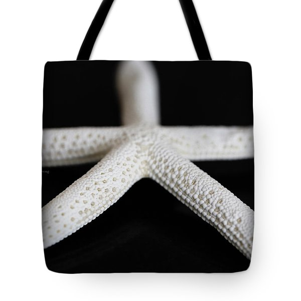 White Finger Starfish Tote Bag by Cheryl Young