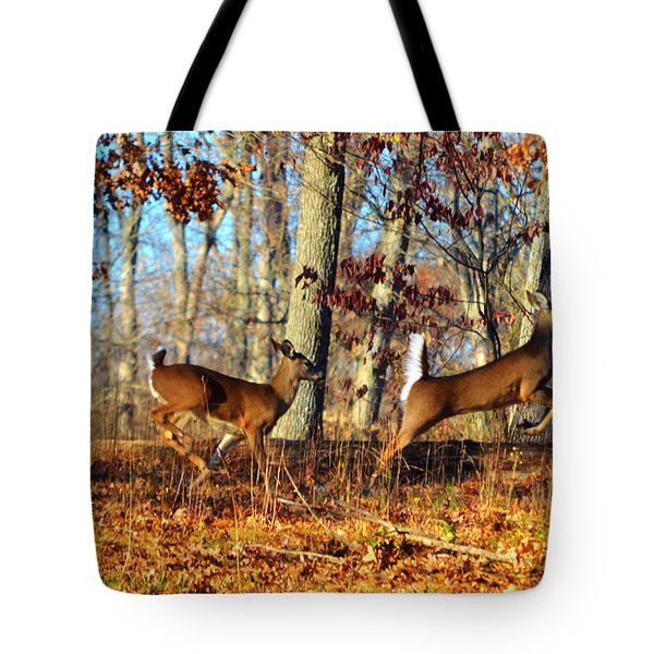 White Tail Deer Leaping  Tote Bag by Peggy  Franz