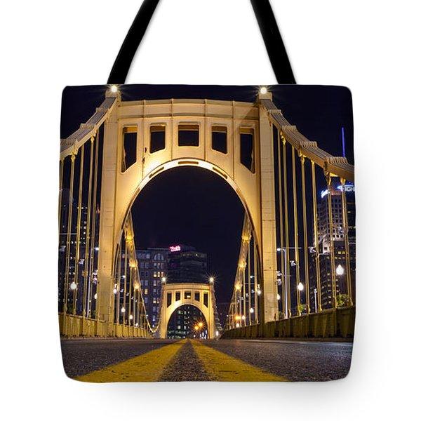 0304 Roberto Clemente Bridge Pittsburgh Tote Bag by Steve Sturgill