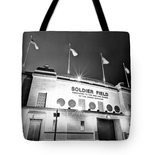 0879 Soldier Field Black And White Tote Bag by Steve Sturgill