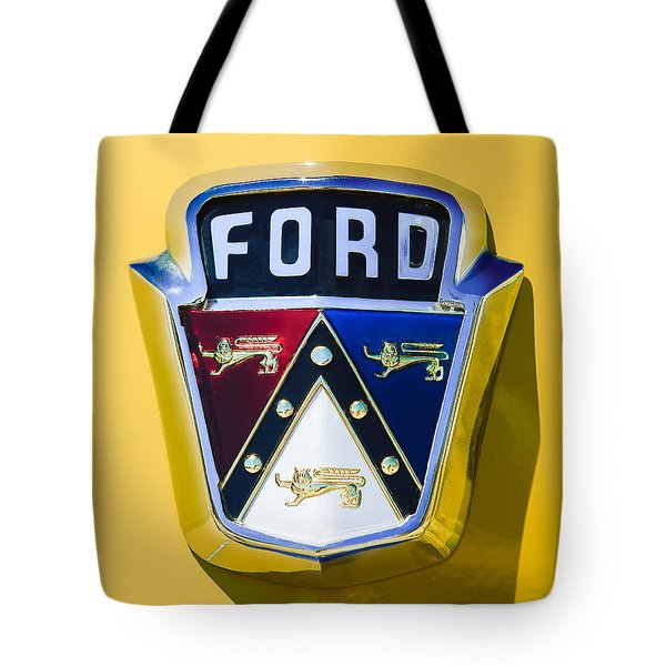 1950 Ford Custom Deluxe Station Wagon Emblem Tote Bag by Jill Reger