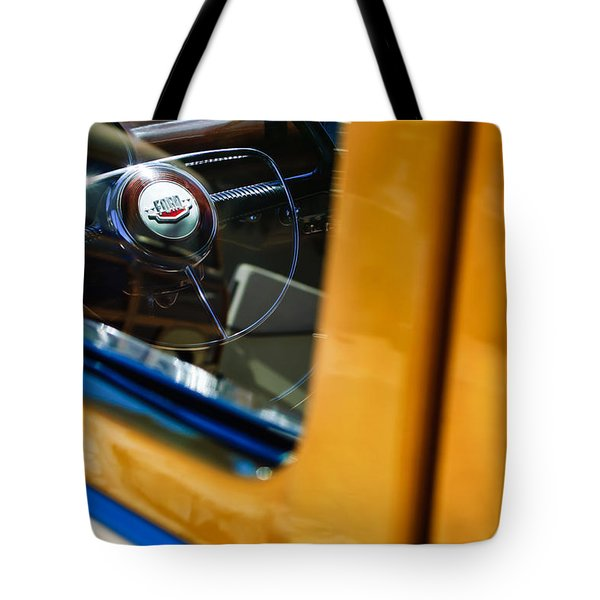 1950 Ford Custom Deluxe Woodie Station Wagon Steering Wheel Emblem Tote Bag by Jill Reger