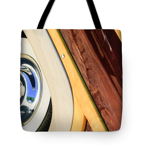 1950 Ford Custom Deluxe Woodie Station Wagon Wheel Tote Bag by Jill Reger