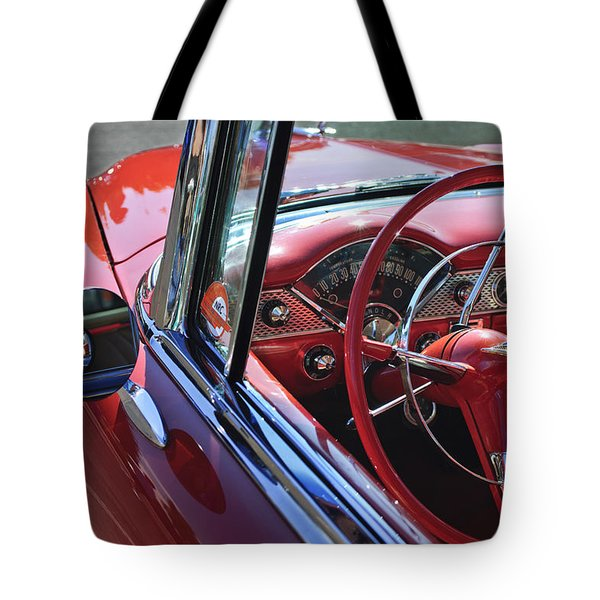 1955 Chevrolet Belair Steering Wheel Tote Bag by Jill Reger