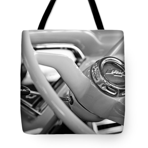 1957 Chevrolet Cameo Pickup Truck Steering Wheel Emblem Tote Bag by Jill Reger