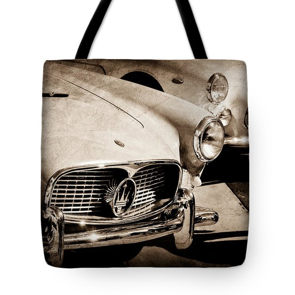 1960 Maserati Grille Emblem Tote Bag by Jill Reger