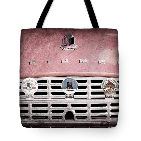 1960 Triumph Tr3 Grille Emblems Tote Bag by Jill Reger
