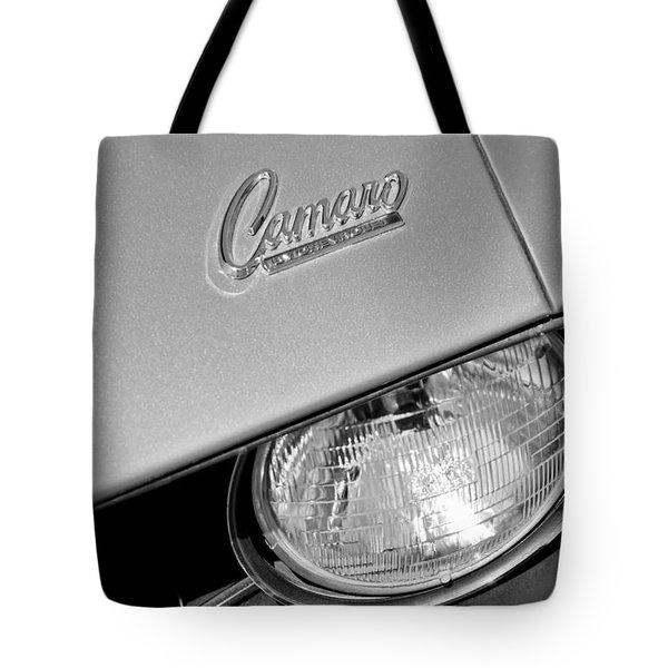1969 Chevrolet Camaro Headlight Emblem Tote Bag by Jill Reger