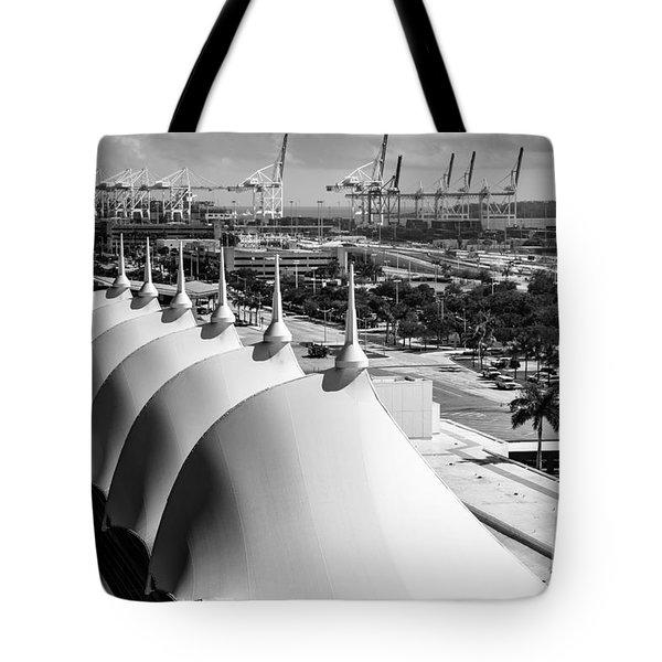Port Of Miami Cruise Ship Terminal Miami Florida Tote Bag by Rene Triay Photography