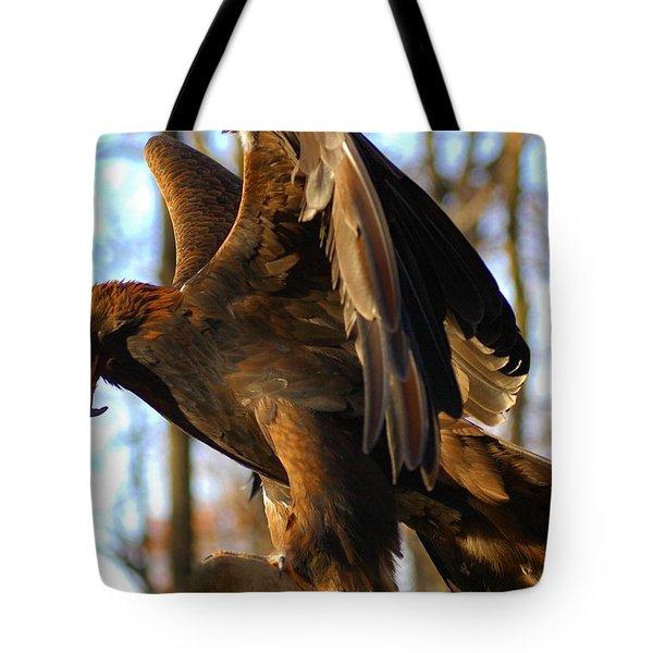 A Golden Eagle Tote Bag by Raymond Salani III