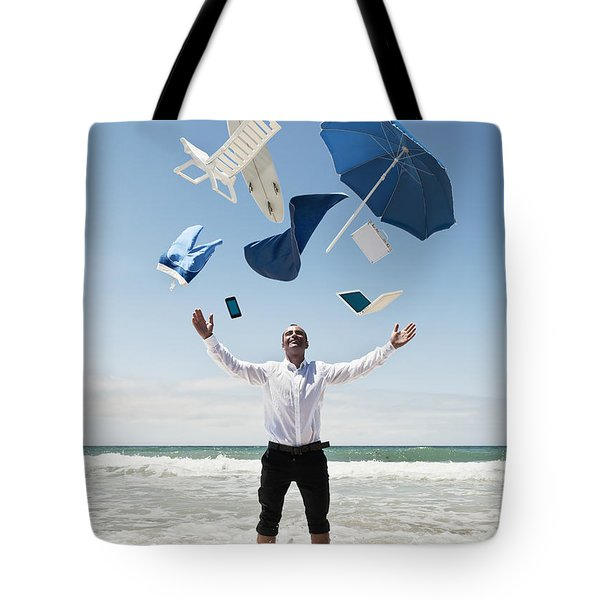 A Man Stands In The Ocean With Items Tote Bag by Ben Welsh