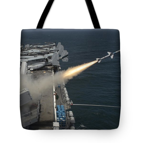 A Rim-7 Sea Sparrow Missile Is Launched Tote Bag by Stocktrek Images