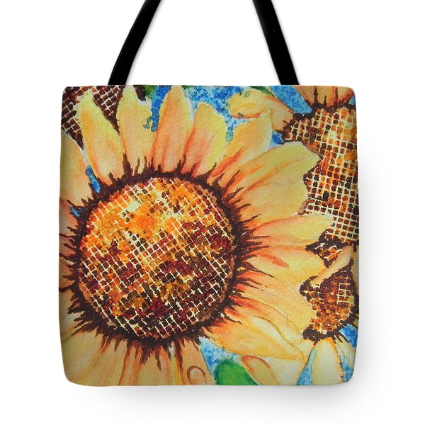 Abstract Sunflowers Tote Bag by Chrisann Ellis