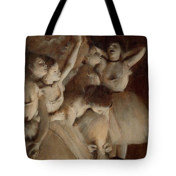 Ballet Rehearsal On Stage Tote Bag by Edgar Degas