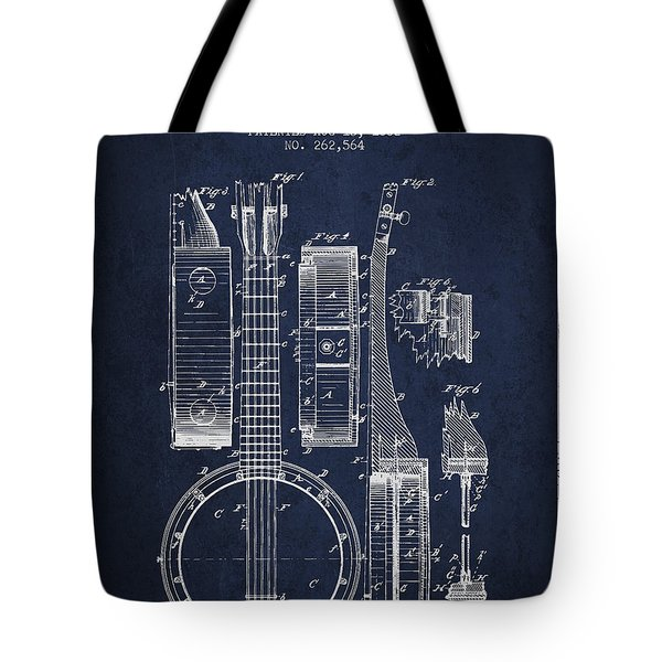 Banjo patent Drawing from 1882 - Blue Tote Bag by Aged Pixel
