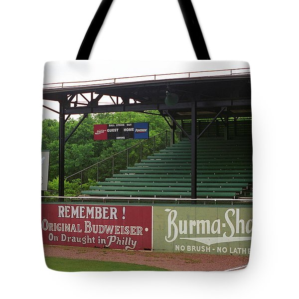Baseball Field Burma Shave Sign Tote Bag by Frank Romeo