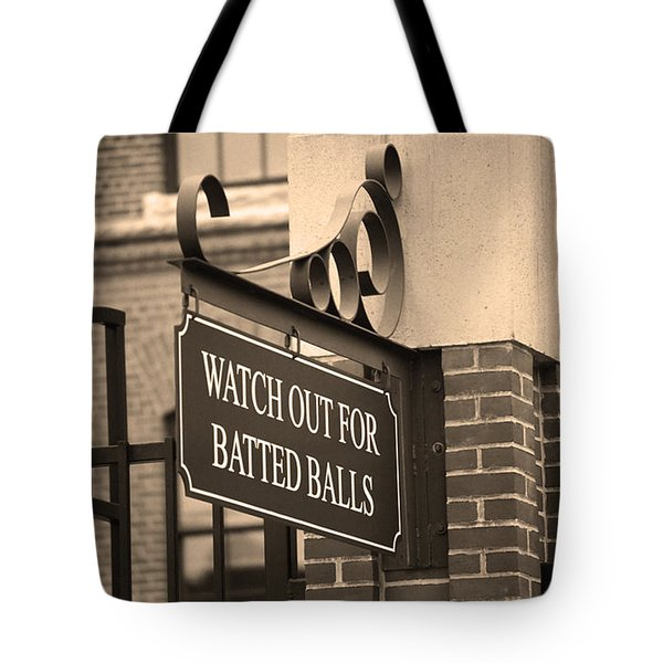 Baseball Warning Tote Bag by Frank Romeo
