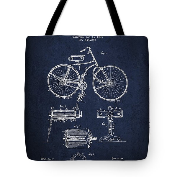 Bicycle Patent Drawing From 1891 Tote Bag by Aged Pixel