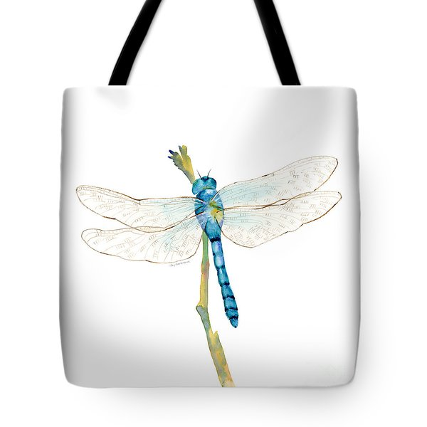 Blue Dragonfly Tote Bag by Amy Kirkpatrick