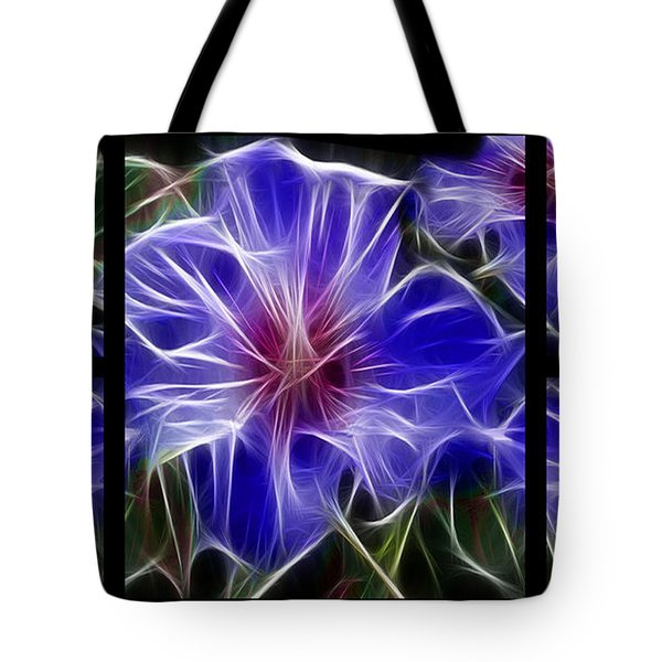 Blue Hibiscus Fractal Tote Bag by Peter Piatt