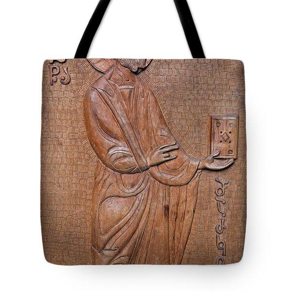 Carved Wooden Door Of The Tsminda Sameba Cathedral Tote Bag by Robert Preston