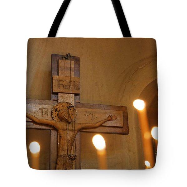 Carving Of Jesus Christ On The Cross Inside Tsminda Sameba Cathedral Tbilisi Tote Bag by Robert Preston