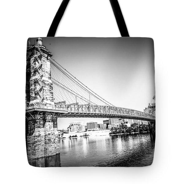 Cincinnati Roebling Bridge Black And White Picture Tote Bag by Paul Velgos