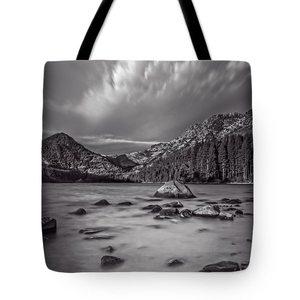 Cloud Movement Over Emerald Bay Tote Bag by Marc Crumpler