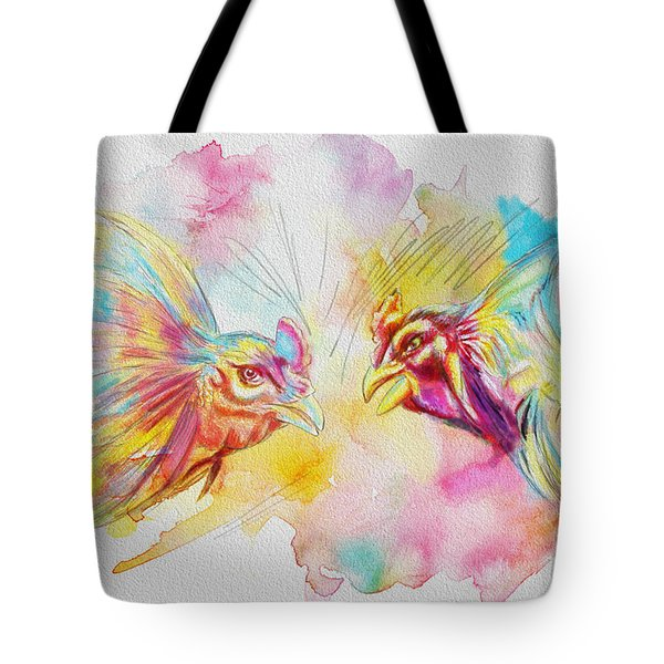 Cock fighting Tote Bag by Catf
