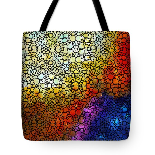 Colorful Stone Rock'd Abstract Art By Sharon Cummings Tote Bag by Sharon Cummings