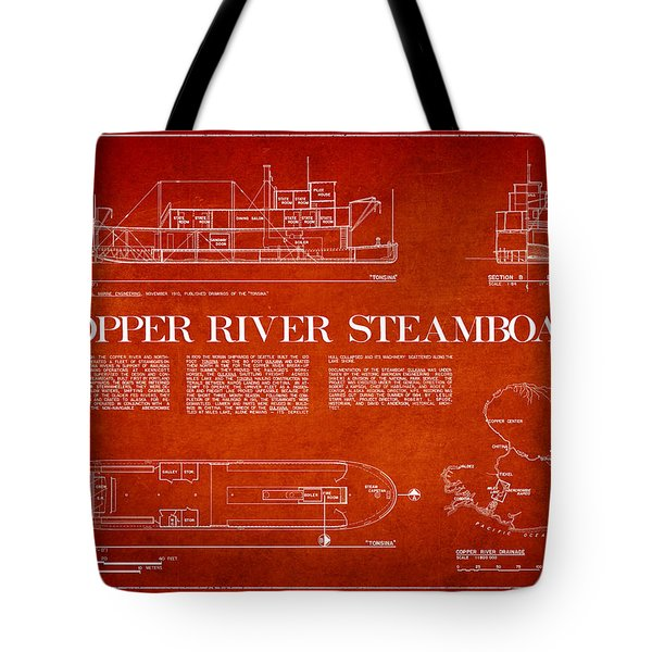 Copper River Steamboats Blueprint Tote Bag by Aged Pixel