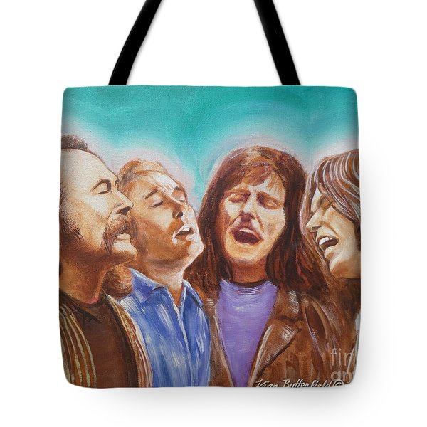 Crosby Stills Nash And Young Tote Bag by Kean Butterfield