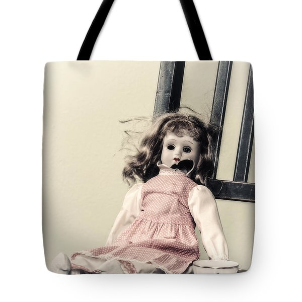 Doll With Tea Cup Tote Bag by Joana Kruse