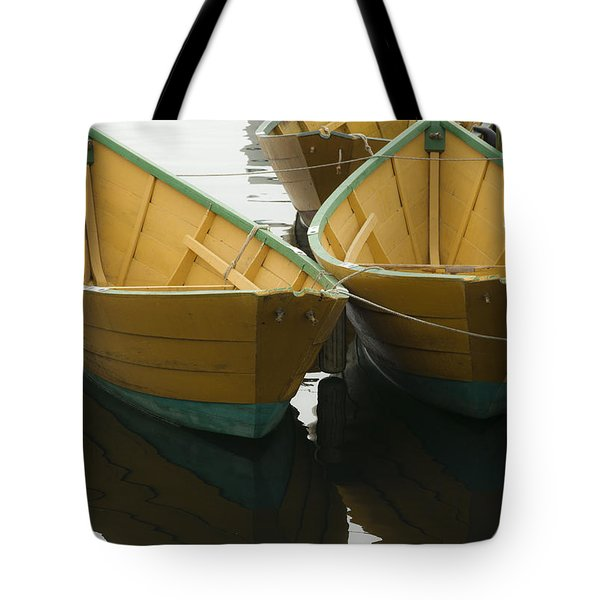 Dories At The Dock Tote Bag by David Stone