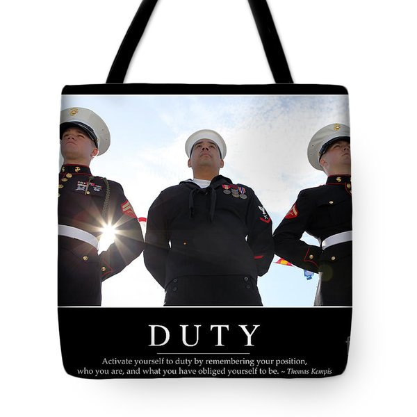 Duty Inspirational Quote Tote Bag by Stocktrek Images