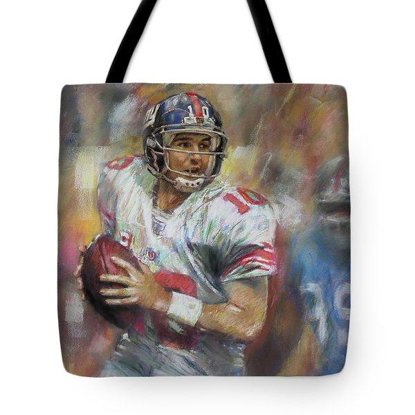Eli Manning Nfl Ny Giants Tote Bag by Viola El