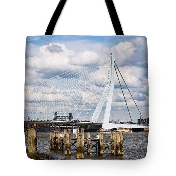 Erasmus Bridge in Rotterdam Tote Bag by Artur Bogacki