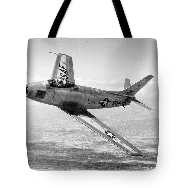 Tote Bag featuring the photograph F-86 Sabre, First Swept-wing Fighter by Science Source