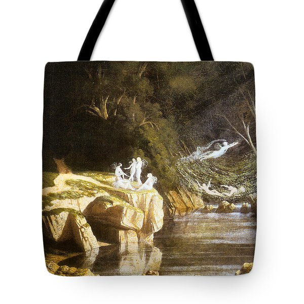 Fairies by a Rocky Stream Tote Bag by Francis Danby