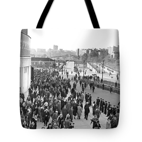 Fans Leaving Yankee Stadium. Tote Bag by Underwood Archives