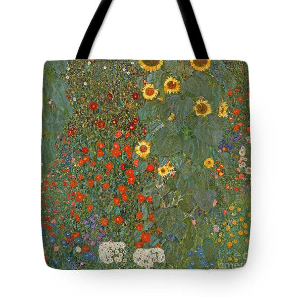Farm Garden With Sunflowers Tote Bag by Gustav Klimt